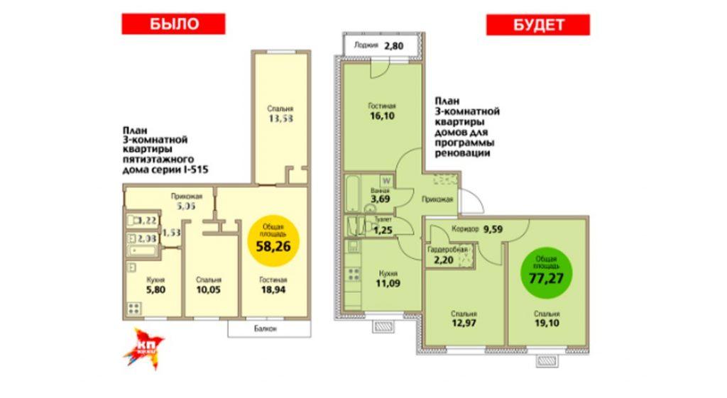 Планировка трехкомнатной квартиры в сравнении