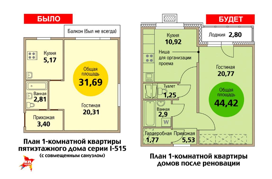Планировка однокомнатной квартиры в сравнении