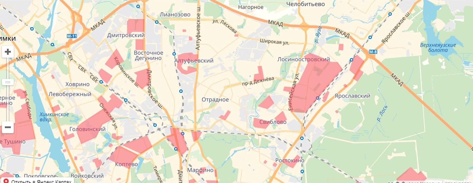Карта реновации в Северо-Восточном административном округе
