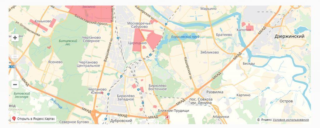 Карта обновления Южного административного округа