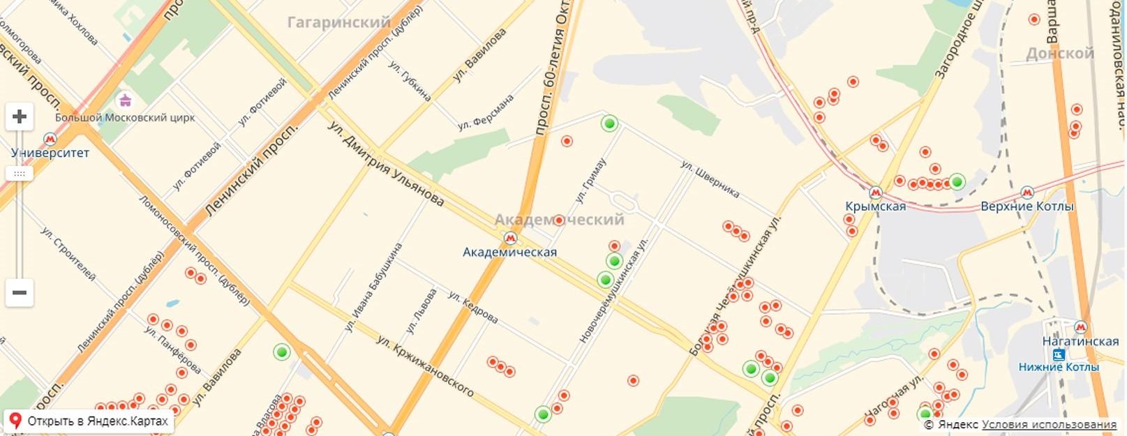 Карта реновации в Академическом районе