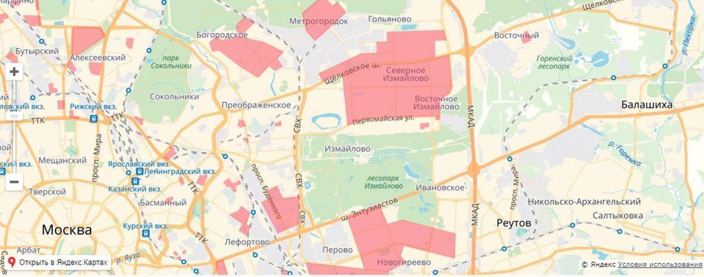Карта обновления в ВАО