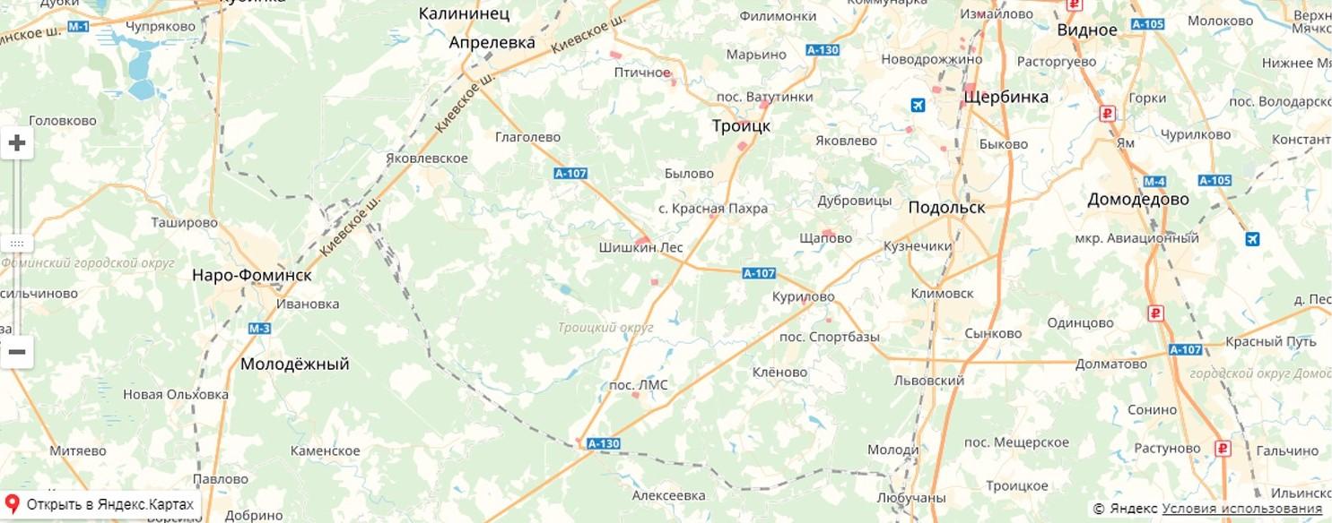 Карта обновления в Новой Москве
