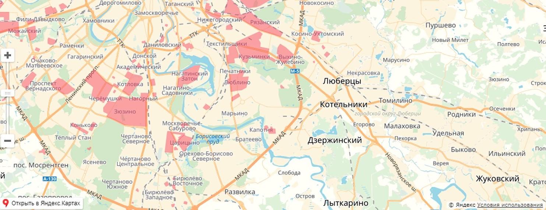 Карта обновления в ЮВАО