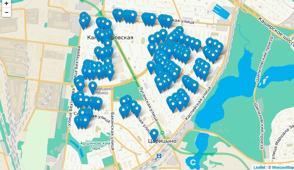 Карта реновации в Царицыно