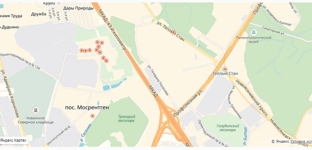 Дома, попавшие в график, в районе Мосрентген – отмечены красными кругами